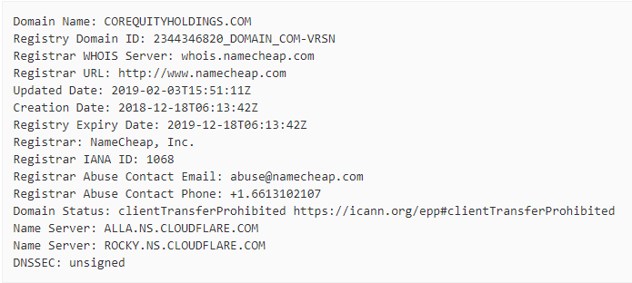 WHOIS Info. of Fake Server
